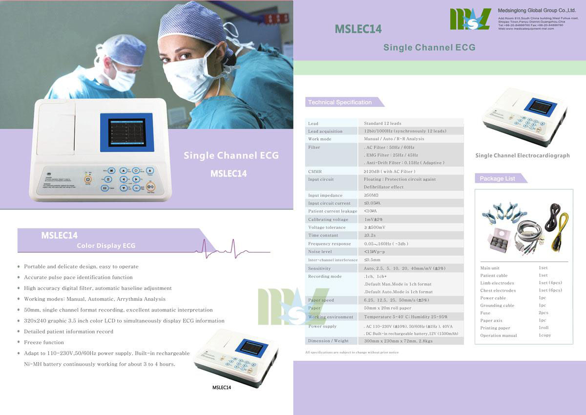 Portable single lead ecg MSLEC14 for sale