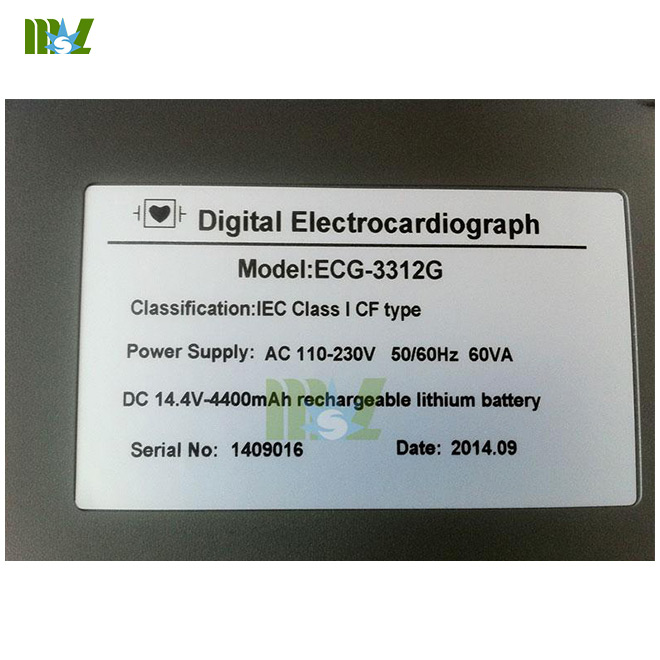 Portable 12-lead ECG recorders MSLEC22 nameplate