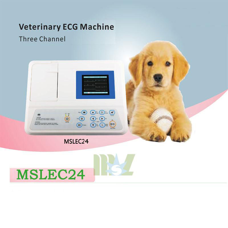 Portable 3 lead veterinary ecg machine MSLEC24