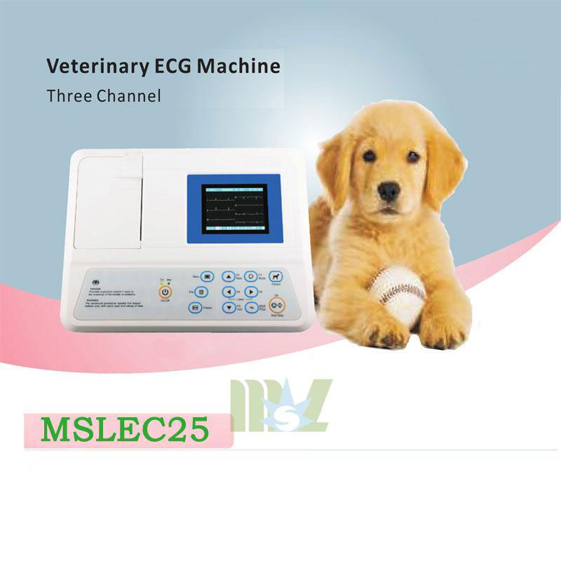 three channel veterinary ecg machine MSLEC25