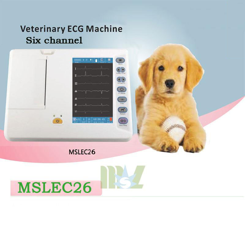 Portable 6-lead channel veterinary ecg machine MSLEC26