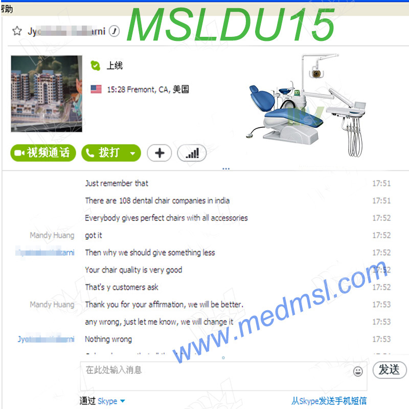 electric Dental chair unit MSLDU15 Praises From Clients