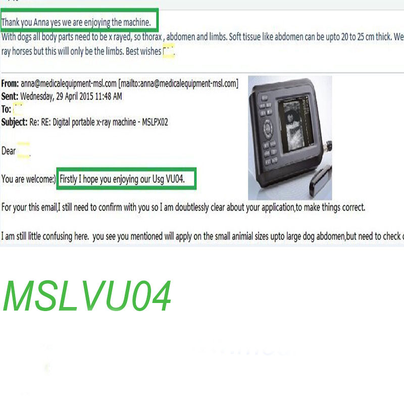 MSL Veterinary ultrasound MSLVU04 Praises From Clients