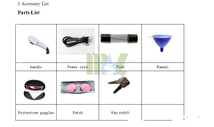 Portable Elight Ipl Machine Accessory List